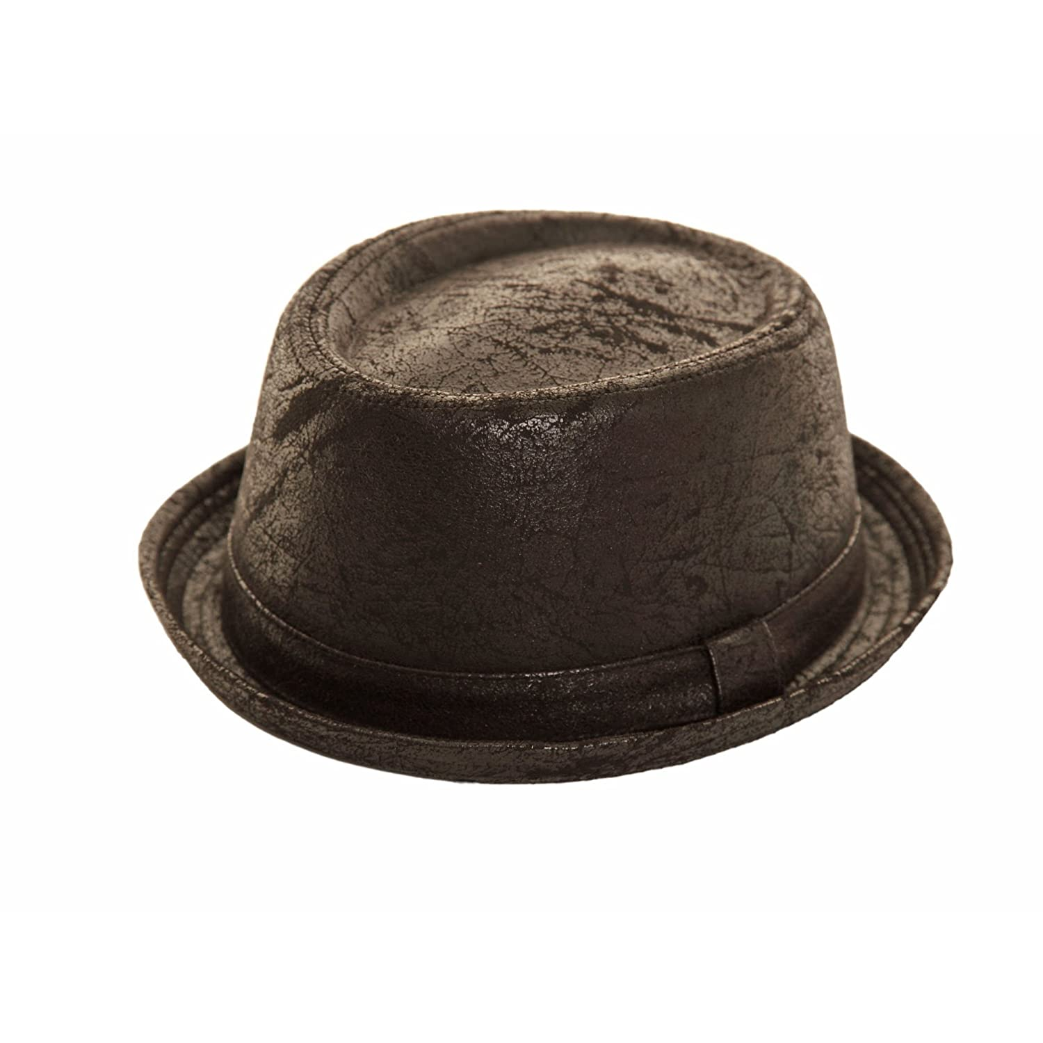 Hawkins Unisex Porkpie trilby hat black cracked leather worn vintage look NEW