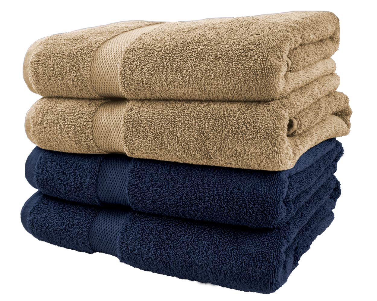Cotton & Calm Exquisitely Plush and Soft Bath Towel Set, 2 Navy and 2 Beige Towels - 4 Large Bath Towels (27''x54'') - Spa Resort and Hotel Quality, Super Absorbent 100% Cotton Luxury Bathroom Towels by Cotton & Calm
