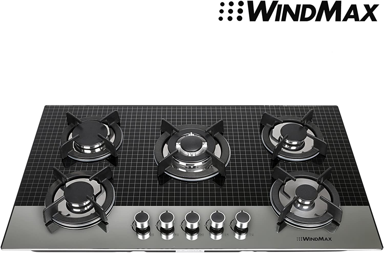 Ship from US~Windmax 35.5 Inch Coated Glass 5 Burners Built-In Stove NG Gas Cooktop Cooker