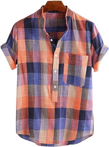 Camisa de Manga Corta con Cuello Alto a Cuadros Retro para ...