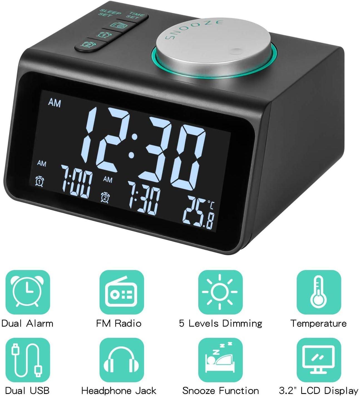Alarm Clock Radio with FM Radio, Dual Alarms Clock, 3.2 LED Display with Dimmer, Snooze, Sleep Timer, Temperature Display, 12 24 Hours, Adjustable Alarm Volume, Headphone Jack, Dual USB Charging Port