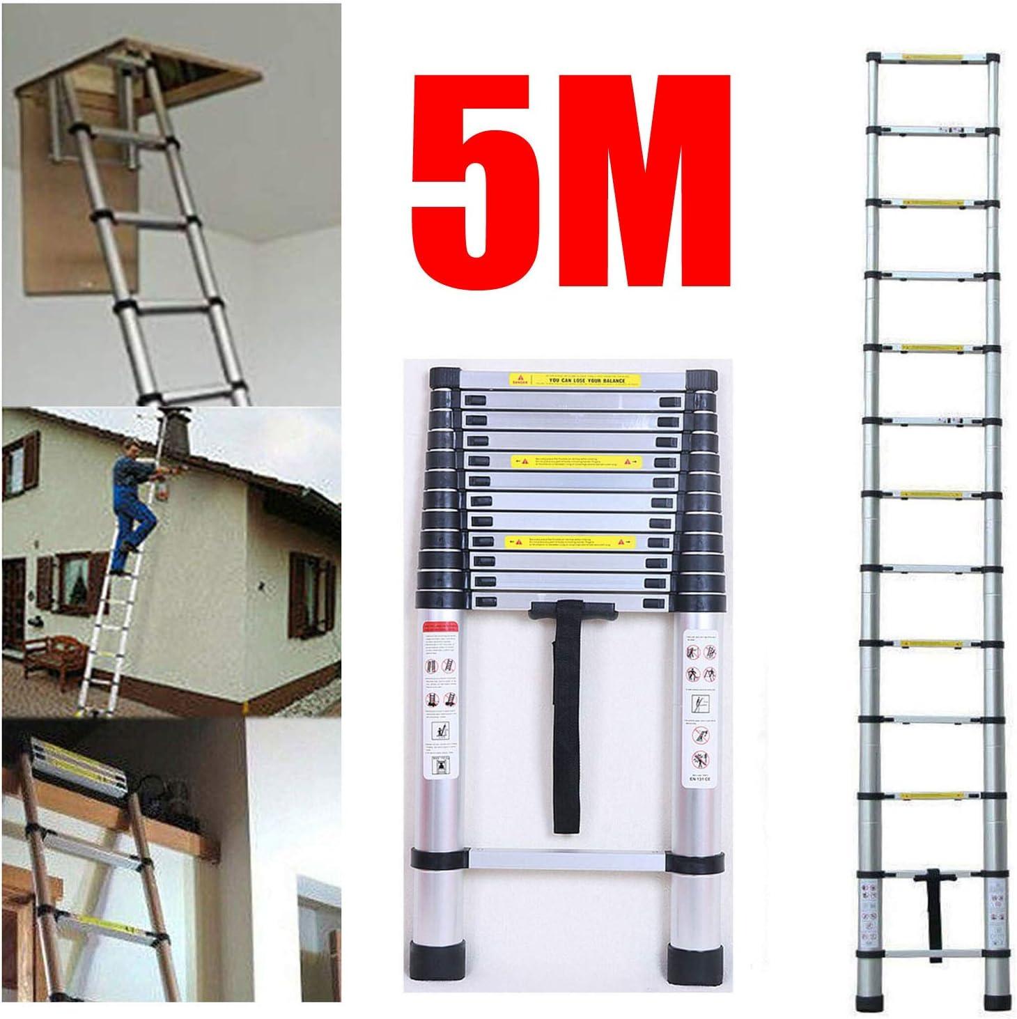 Escalera telescópica de aluminio de 5 m, escalera plegable multiusos, escalera compacta para interior y exterior, escalera de trabajo, escalera de seguridad, carga máxima de 150 kg: Amazon.es: Bricolaje y herramientas