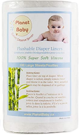 Super Soft for Sensitive Baby Skin 1 Roll Natural Biodegradable Flushable Liners PLANET BABY Diaper Liners Each Roll 100 Large Sheets Unscented and Chlorine Free