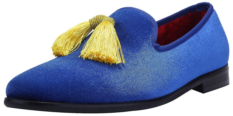 43ebbf21e9ba9 ELANROMAN Men Loafers Velvet Dress Shoes Fashion Embroidery Vintage Tassels  Noble Mens Smoking Slipper Slip-on Party Glitter Dress Shoes for Men