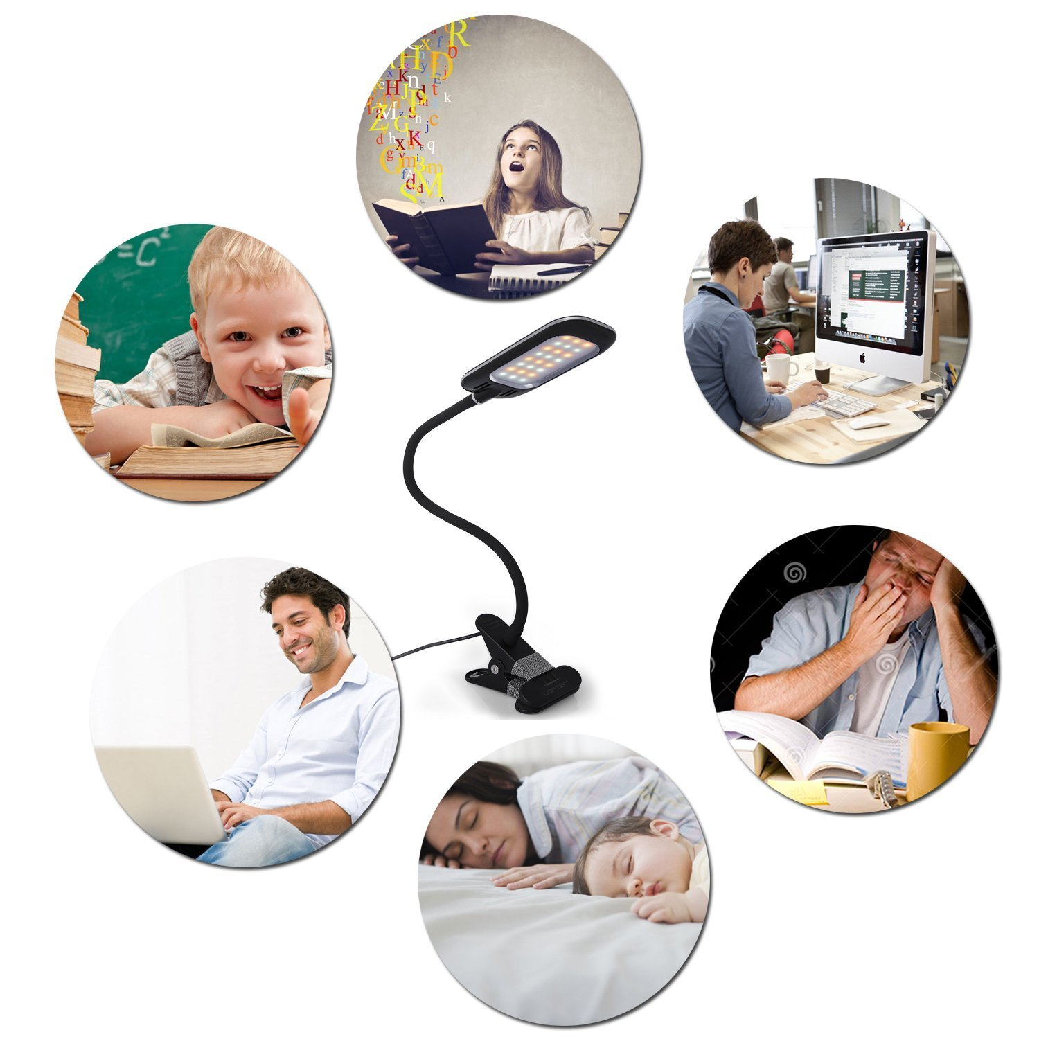 Clip on Desk Lamp Bedroom with 3 Color Modes,11 Dimming Levels 5W Adapter Included Eyocean Clamp Reading Light for Bed Headboard Black