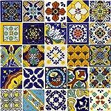 Tierra y Fuego Tile SET - Twenty-Five (25) 4¼ x 4¼ In. Ceramic Mexican Tiles - Talavera