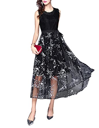 sekitoba-japan.inc Sleeveless Black Lace Patchwork Floral Print Midi Cocktail Dress for Women