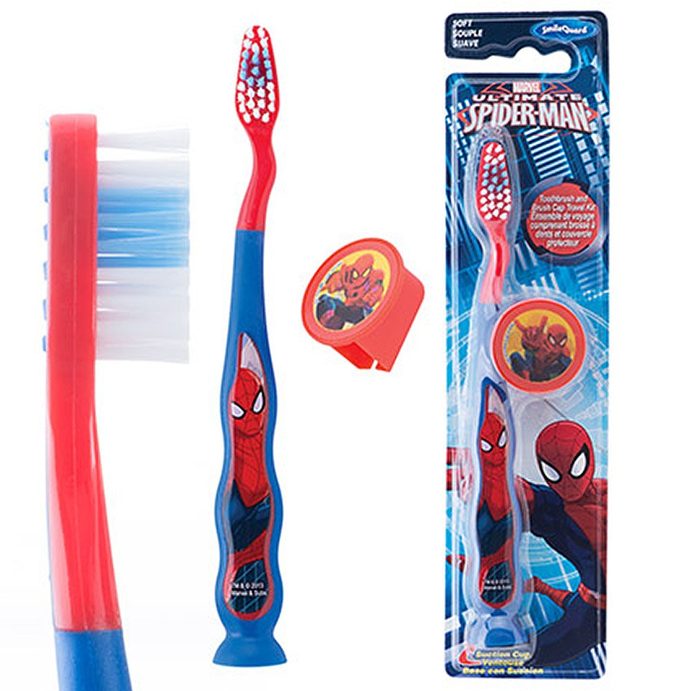 Spider-Man Kids Suction Cup Travel Toothbrushes - Dental Hygiene Products - 48 per Pack SmileMakers Inc