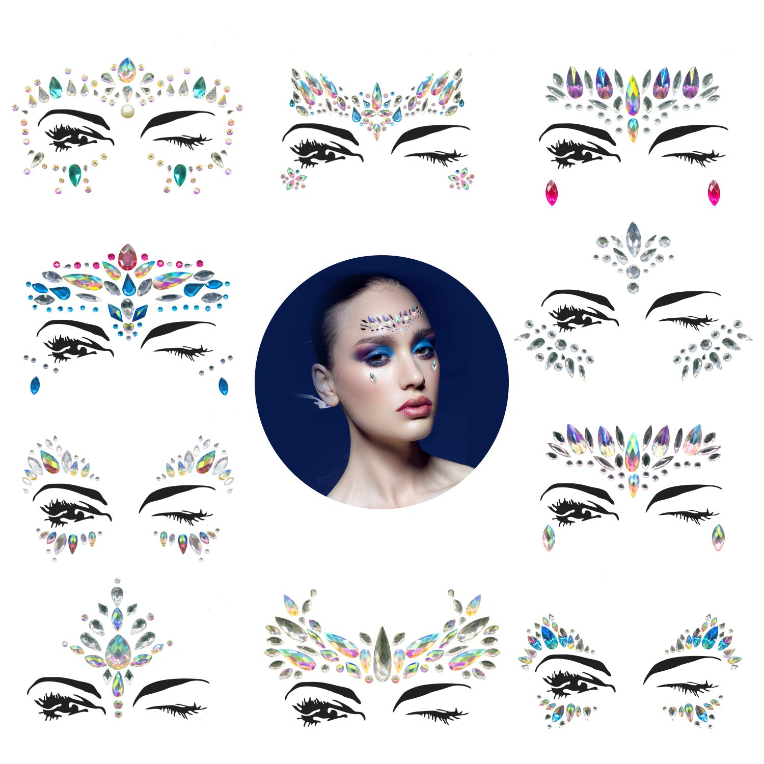 10 Sets Mermaid Face Gems Glitter - Rhinestone Rave Festival Face Jewels,Bindi Crystals Face Stickers, Eyes Face Body Stickers for Music Festivals Bohemian (Mermaid Tale)