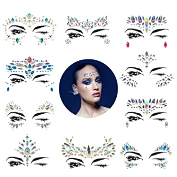 aec81f79f8c 10 Sets Mermaid Face Gems Glitter - Rhinestone Rave Festival Face  Jewels,Bindi Crystals Face...