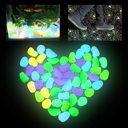 FEIGO Piedras Que Brillan en la Oscuridad, decoración de Acuario, Piedras de Grava, Piedras Luminosas de jardín para Exteriores, césped, pasarelas, decoración de Entrada de Patio: Amazon.es: Jardín