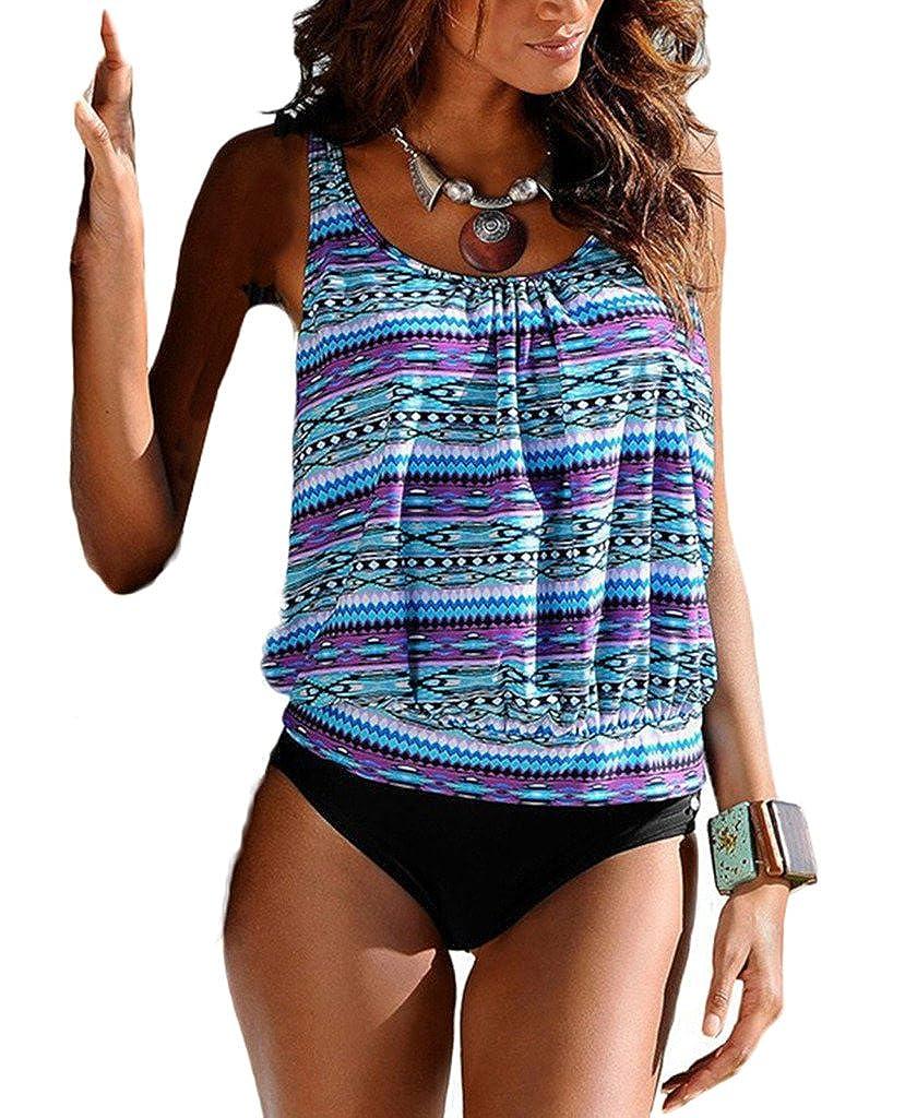 Blugibedramsh Womens Printed Tankini Swimwear Two Piece Swimsuit Set Bathing Suit BL-SW-373-01