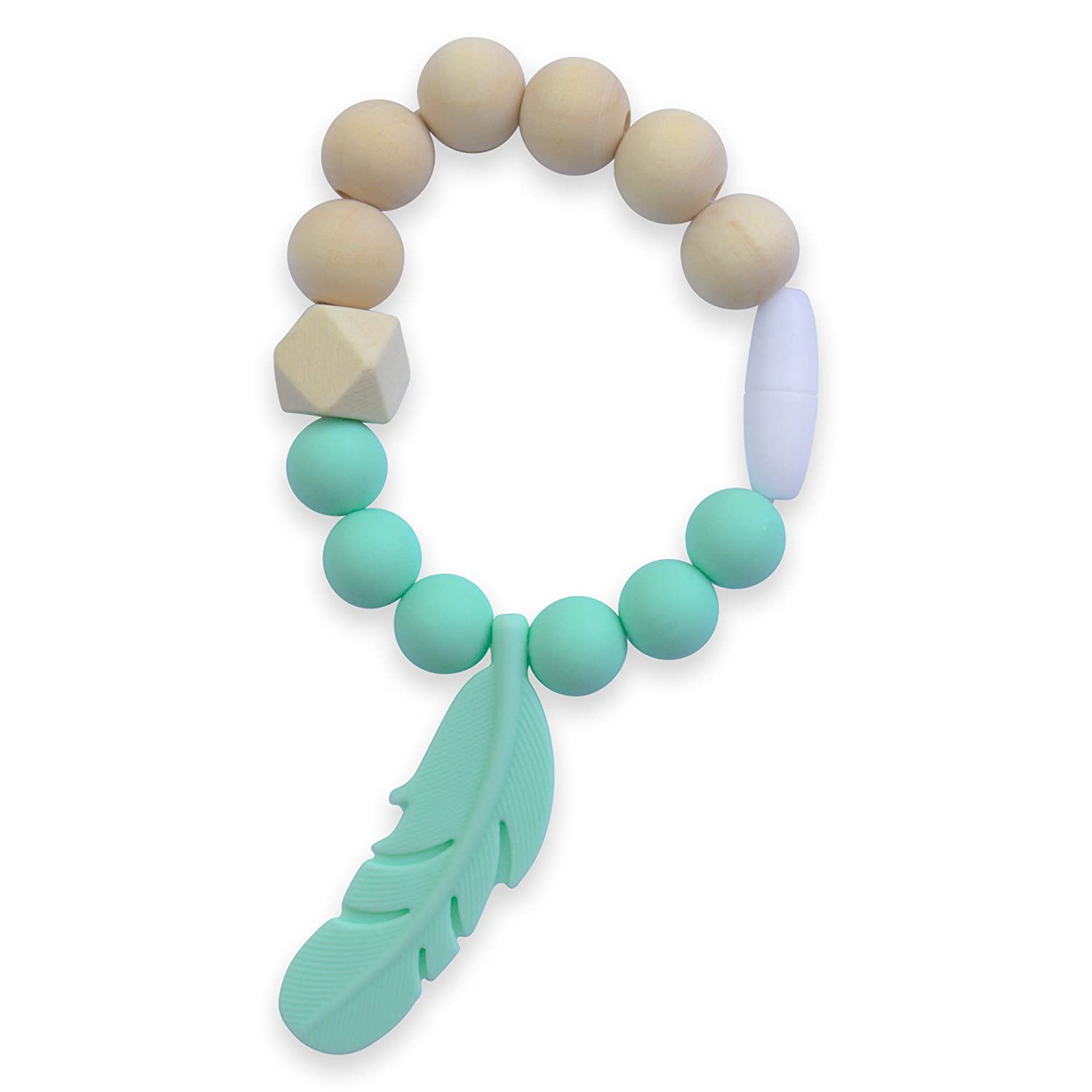 AnPei Organic Wood and 100/% BPA-Free Silicon Chewable Beads /& Feather Teething Ring Bracelet Heather