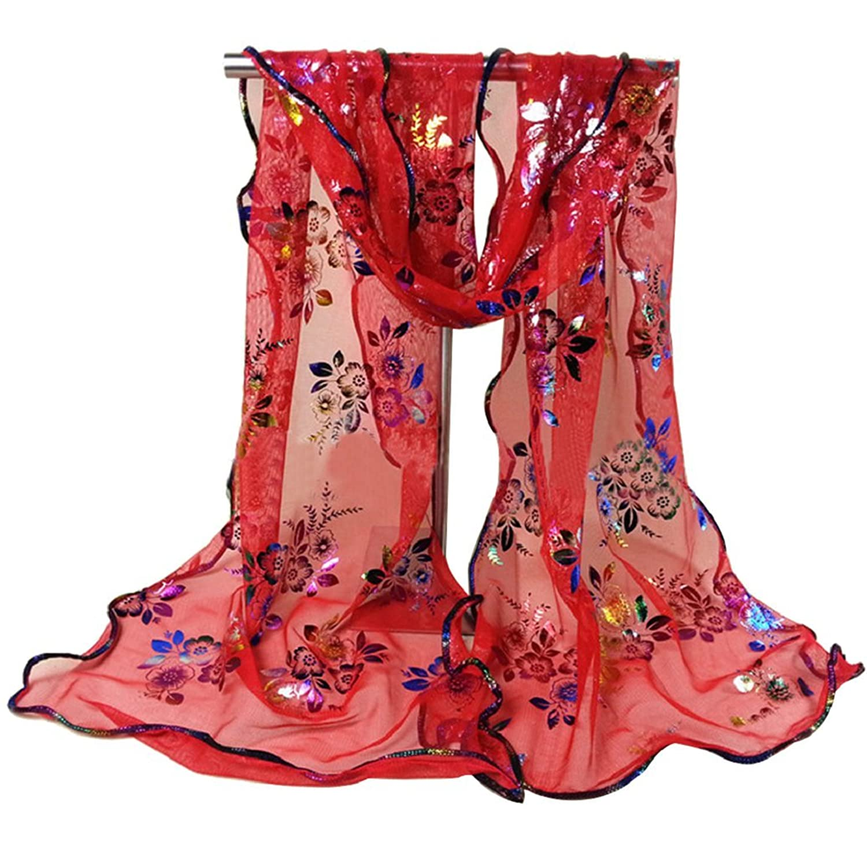 JYS Women Ladies Elegant Floral Soft Long Sheer Lace Scarf Scarves Wrap Shawl