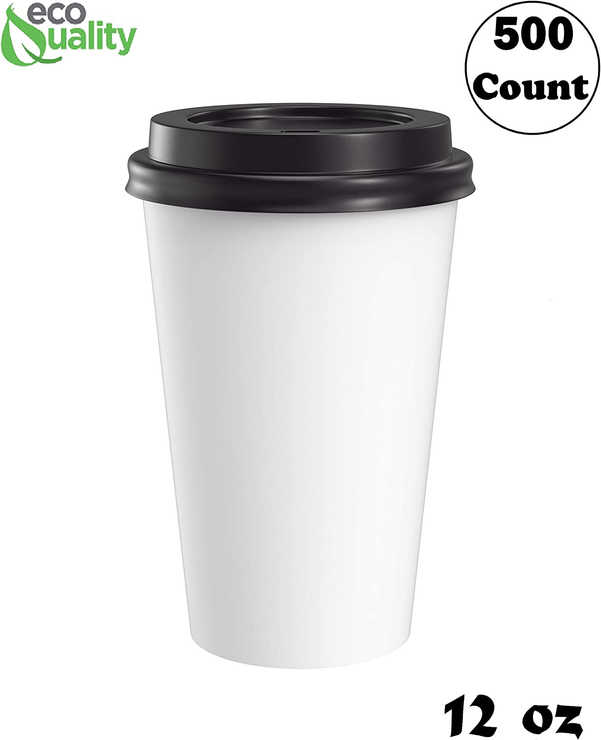 Disposable Poly Paper Hot Tea Coffee Cups with Flat White Lids 500 Pack 12 Oz
