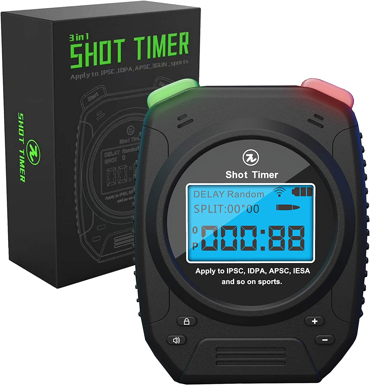 SPECIAL PIE Shot Timer - 3 in 1 Shooting Timer for Firearms Airsoft Stop Watch Perfect for Practice Shot Pistols Rifles Dry Fire in USPSA, IPSC, APSC, IDPA, 3 Gun, Steel Challenge Shot Timer