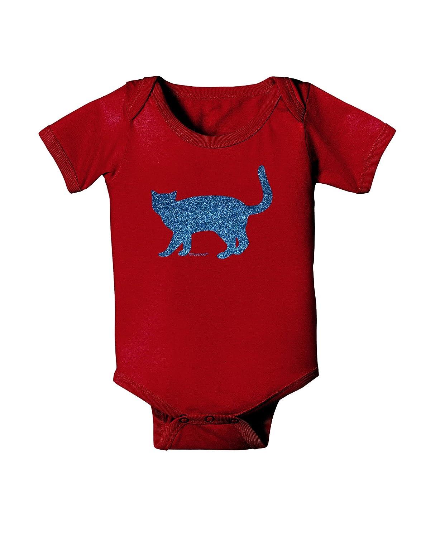 TooLoud Cat Silhouette Design Blue Glitter Baby Bodysuit Dark