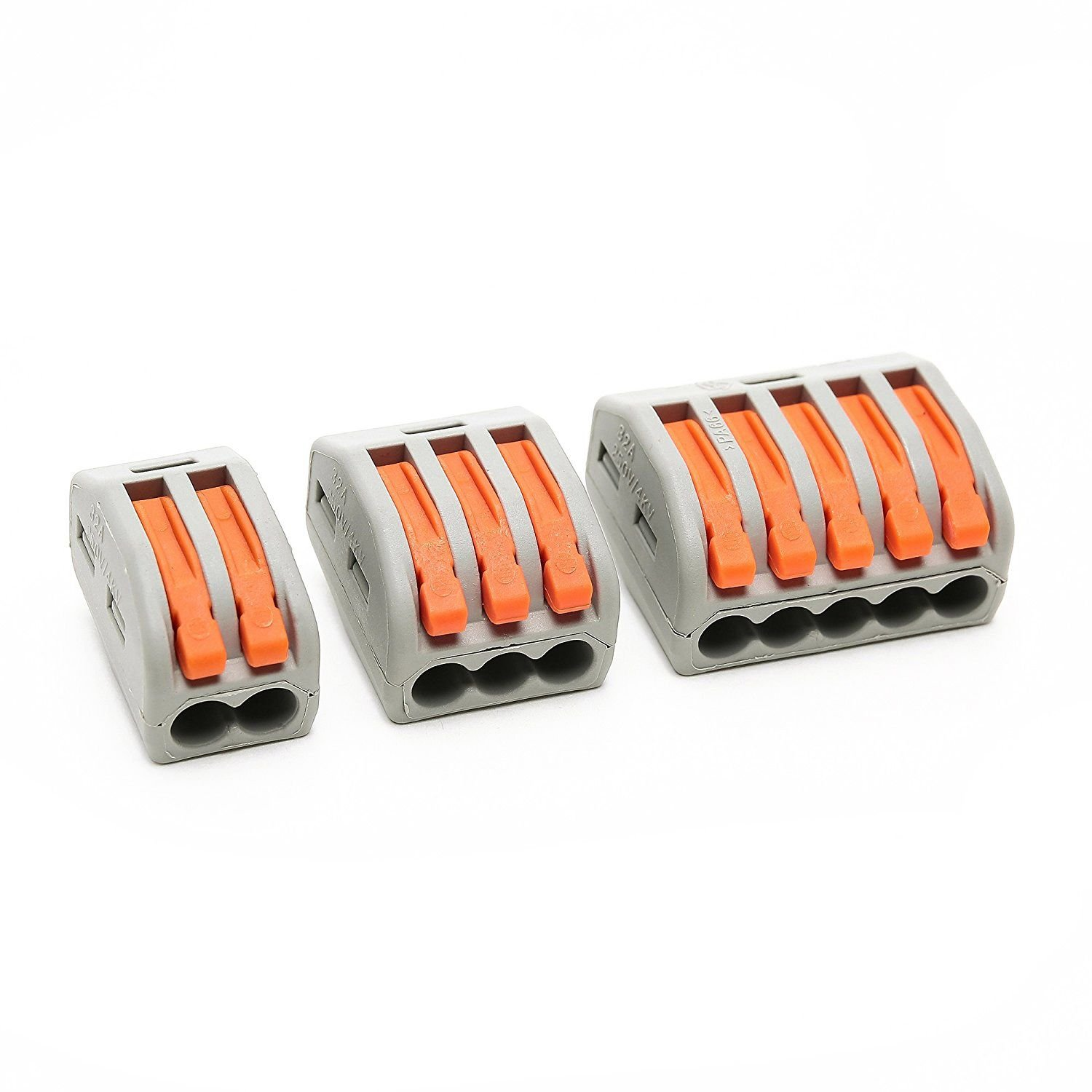 SODIAL(R) 30PCS Lever-Nut Assortment Pack Conductor Compact Splicing Wire Connector 400 V 28-12 AWG PCT-21X/222-41X