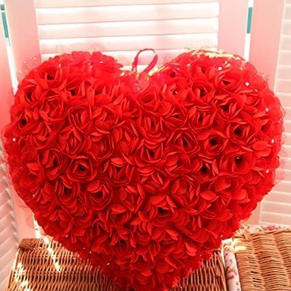 3d rosa flores de encaje de peluche manta almohada cojines decorativos con forma de corazón día