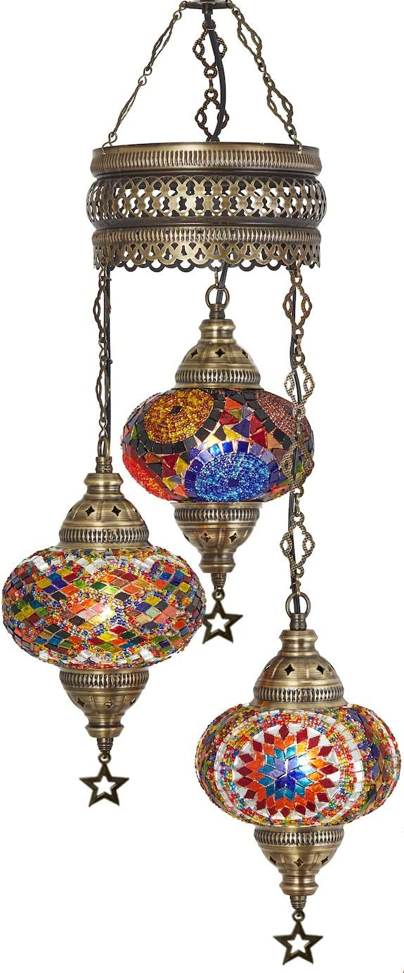 """DEMMEX Turkish Moroccan Mosaic Hardwired OR Swag Plug in Chandelier Light Ceiling Hanging Lamp Pendant Fixture (3 X 6.5"""" Globes - Hard-Wired)"""