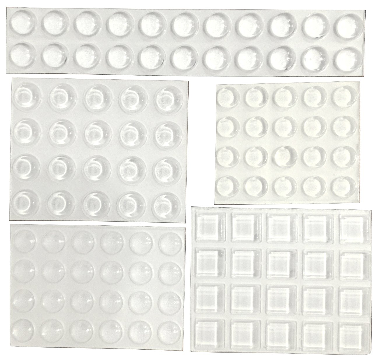 Clear Adhesive Bumper Pads 106-PC Combo Pack (Round, Spherical, Square) - Made in USA - Sound Dampening Transparent Rubber Feet for Cabinet Doors, Drawers, Glass Tops, Picture Frames, Cutting Boards