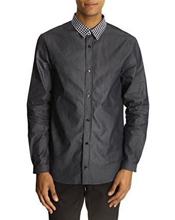 0b0e838652 Carven - Casual Shirts - Men - Denim Shirt with Contrasting Checked Collar  for men - 39  Amazon.co.uk  Clothing