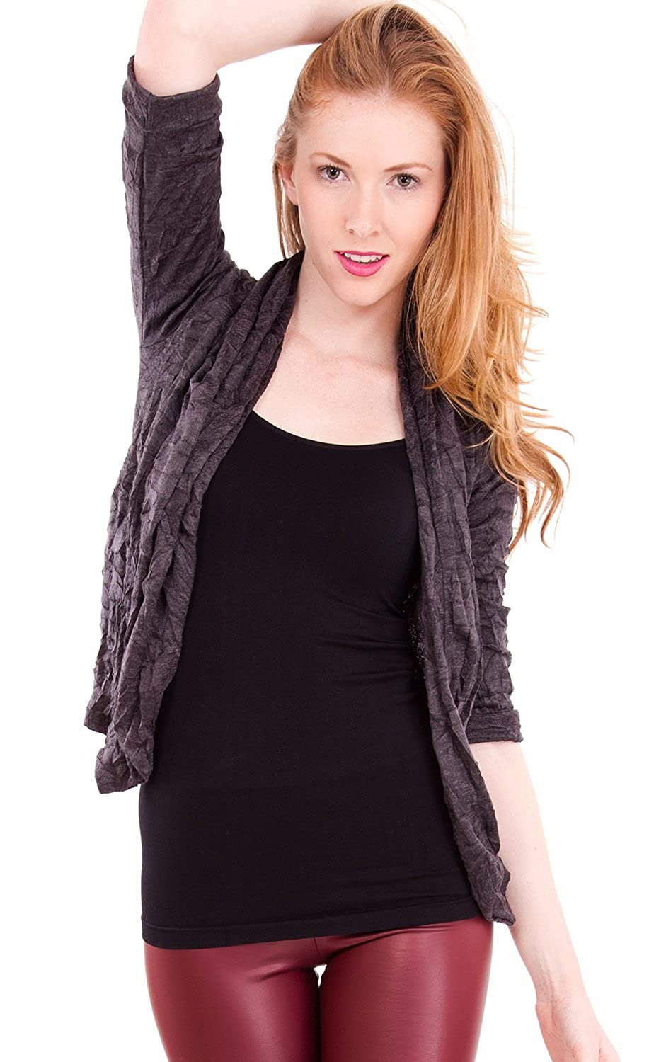 Clothes Effect Women's Crinkle Textured Half Sleeve Short Cardigan