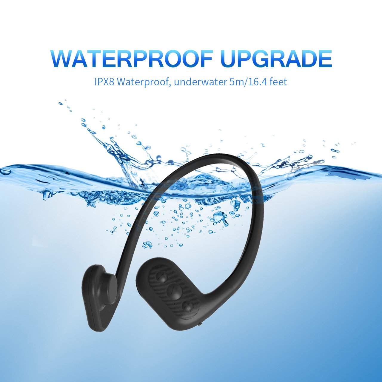 Tayogo Bone Conduction 8GB Waterproof MP3 Player Swimming Headphones with Shuffle Feature Support FM - Black