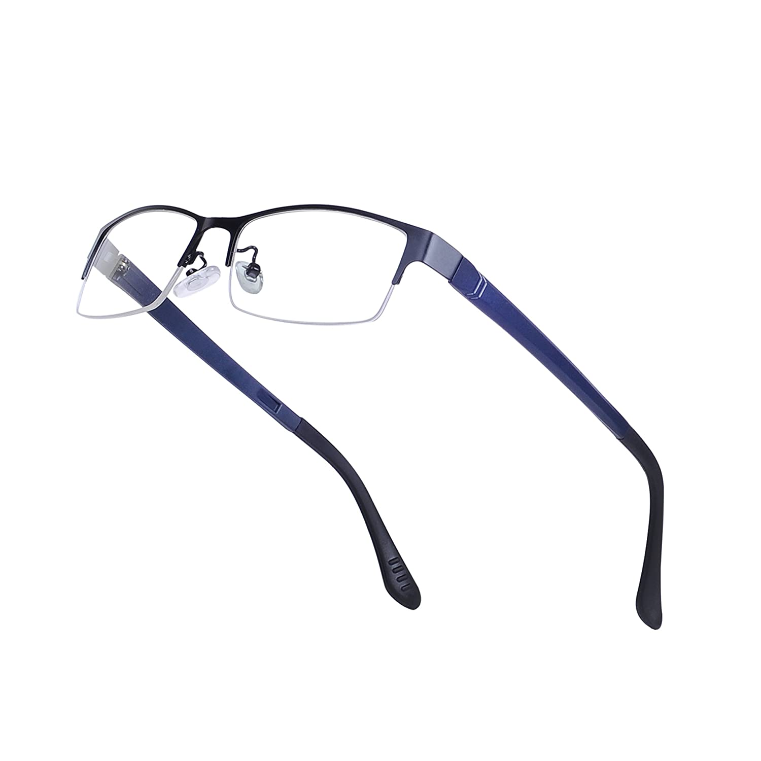 Men Half-Rim Rectangular Glasses Frame Metal Clear Lens Non-prescription + Case JoXiGo