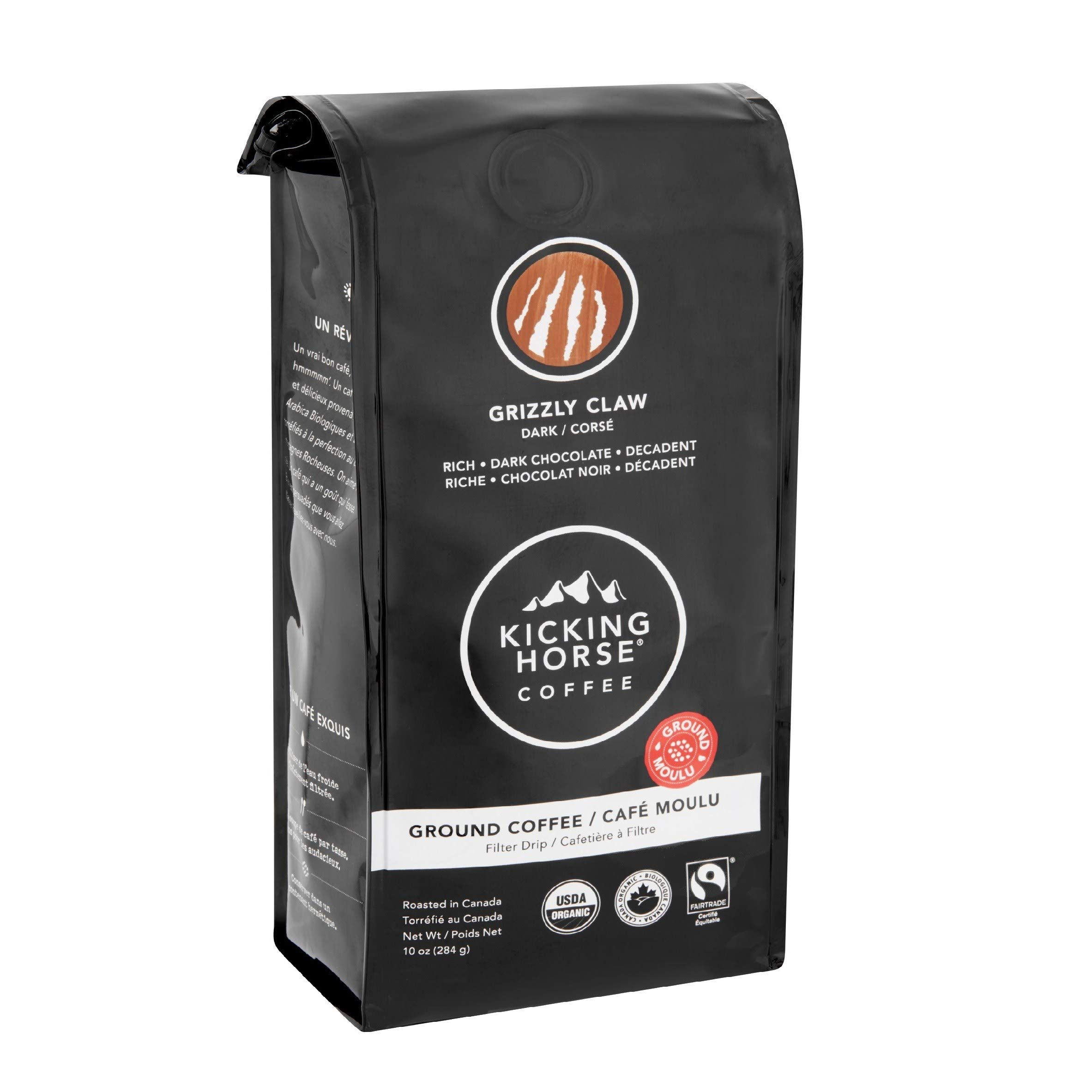 Kicking Horse Dark Chocolate Ground Coffee, Grizzly Claw - (1-Pack) - 284 Grams (10 oz) Dark Ground Coffee, Imported Fairtrade Certified Coffee