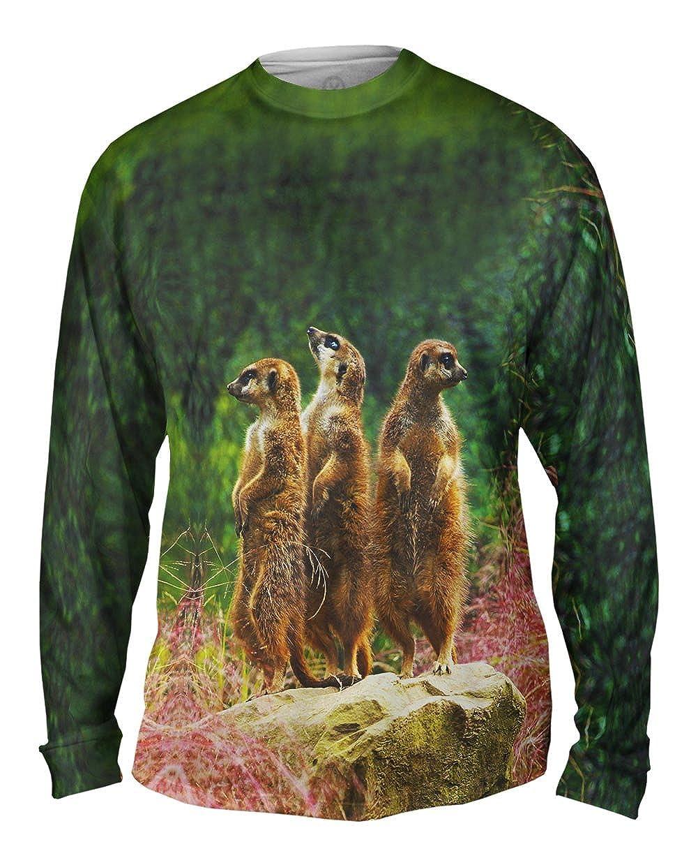 Mens Long Sleeve Yizzam TShirt Three Meerkats