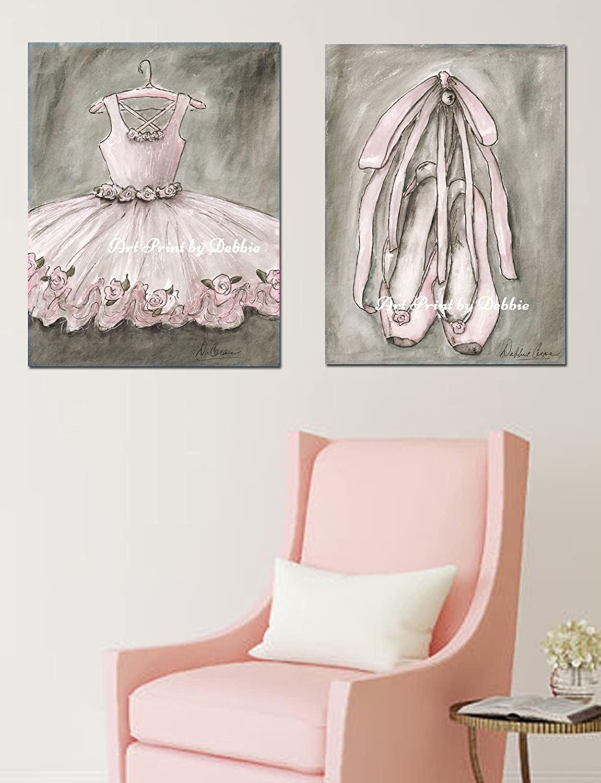Amazon.com: Blush Pink Ballet Nursery Wall Art, Set Of 2 Vintage ...