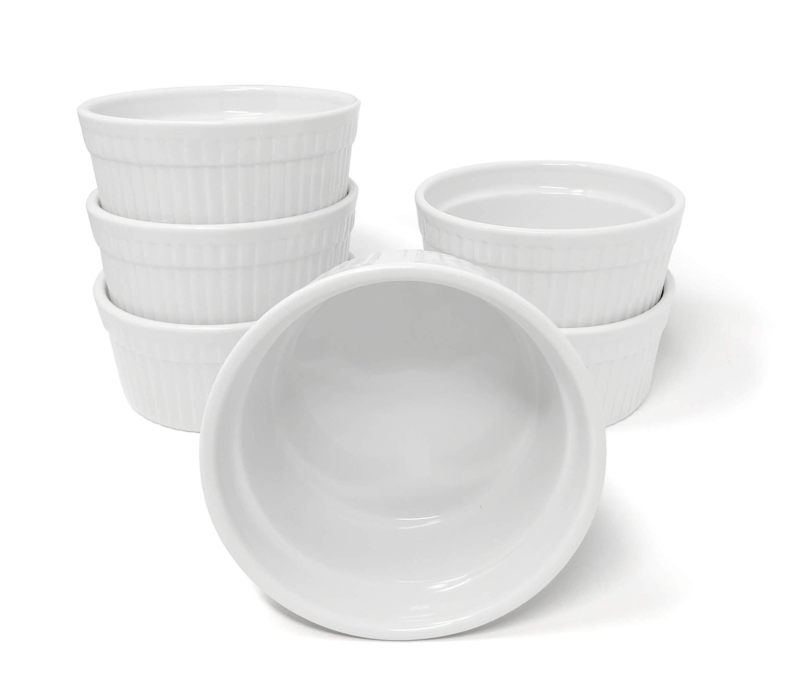 Furmaware White Porcelain 12oz Ramekins Set: 6-Piece Baking & Serving Individual Ramekin Bowls  Sturdy & Classy No Odor & Easy To Clean Ramekin Cups  Decorative Soufflé, Sauce, Dressing & Dip Ramekins