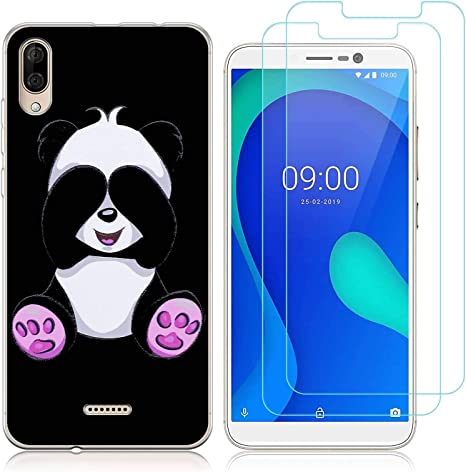 Reshias Coque Wiko Y80 Silicone Transparent (Panda)[Antichoc] Souple TPU Housse Bumper Soft Case Cover pour Wiko Y80 avec (2 Pack) Verre trempé écran ...