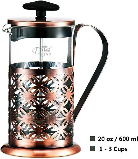 Cafetera émbolo Cafetera Francesa Espresso y Tetera con Triple Filtro émbolo 20 oz: Amazon.es: Hogar