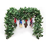 Jinway 5 pcs (40 Ft) Artificial Greenery Fake Ivy Vines Big Leaves High Simulation Garlands Hanging Plant for Wedding Party Garden Outdoor and Home Decor 5 Stands