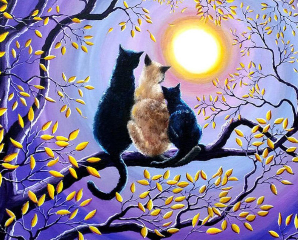 Cats on the Tree 5D Diamond Painting Kit By Numbers Full Drill Crystal Rhinestone Embroidery Cross Stitch DIY Art Craft Home Wall Decor (30cm x 40cm) WesGen