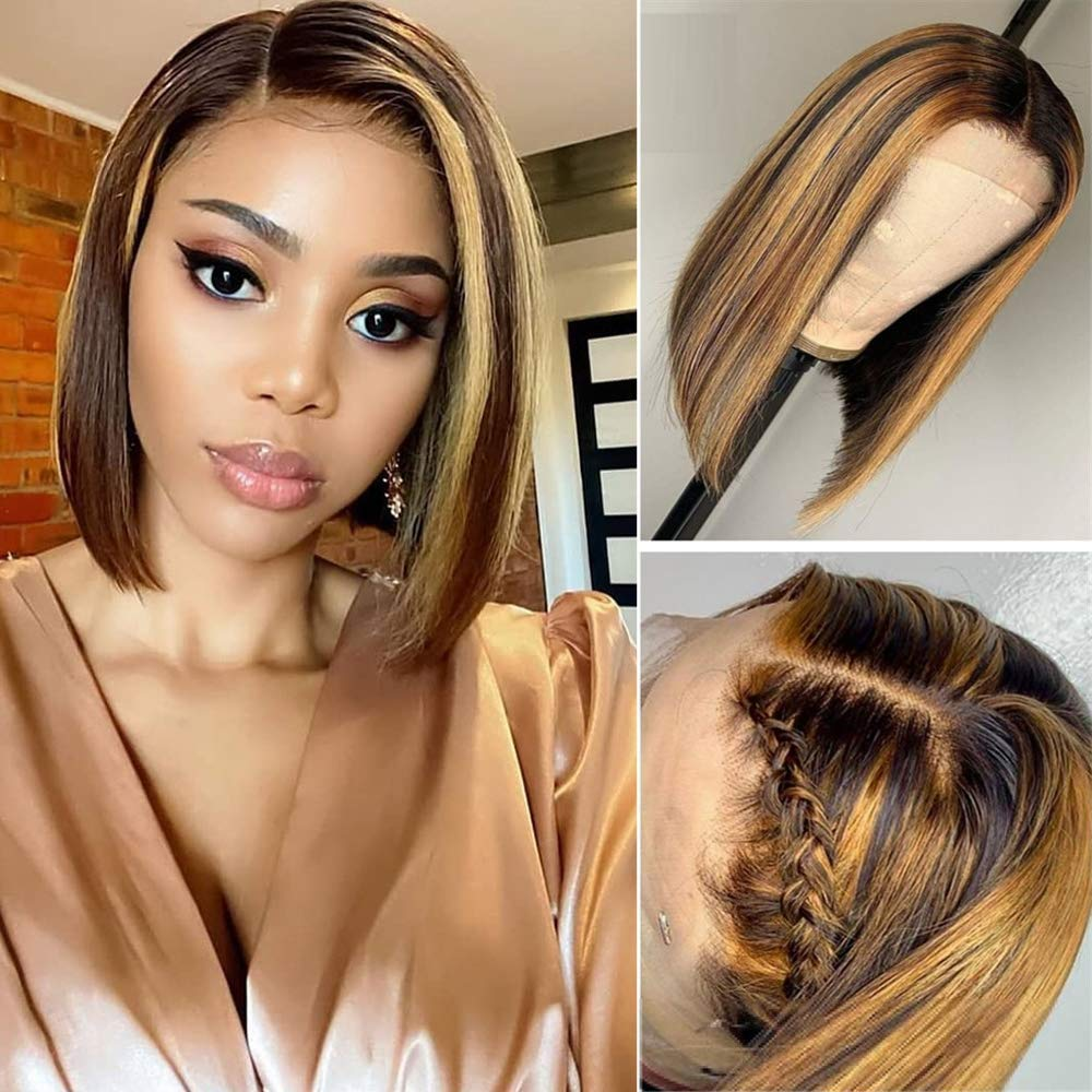 Amazon Com Short 13x1 Lace Front Bob Wig Pre Plucked Straight Honey Blond Ombre Color Highlight 130 Lace Frontal Brazilian Virgin Human Hair Wigs With Baby Hair For Women 14 Inch Beauty