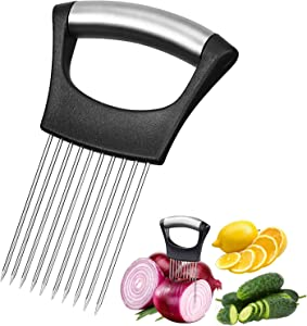 Pocmimut Food Slice Assistant-Kitchen Gadgets - Food Chopper,Ten Prongs Vegetable Chopper With Non-Slip Handle, Onion Cutter,Potato Cutter Slicer,Vegetable Helper,Stainless Steel Fork Slicing, Kitchen Tool Cutting Chopper (1PC, Black)