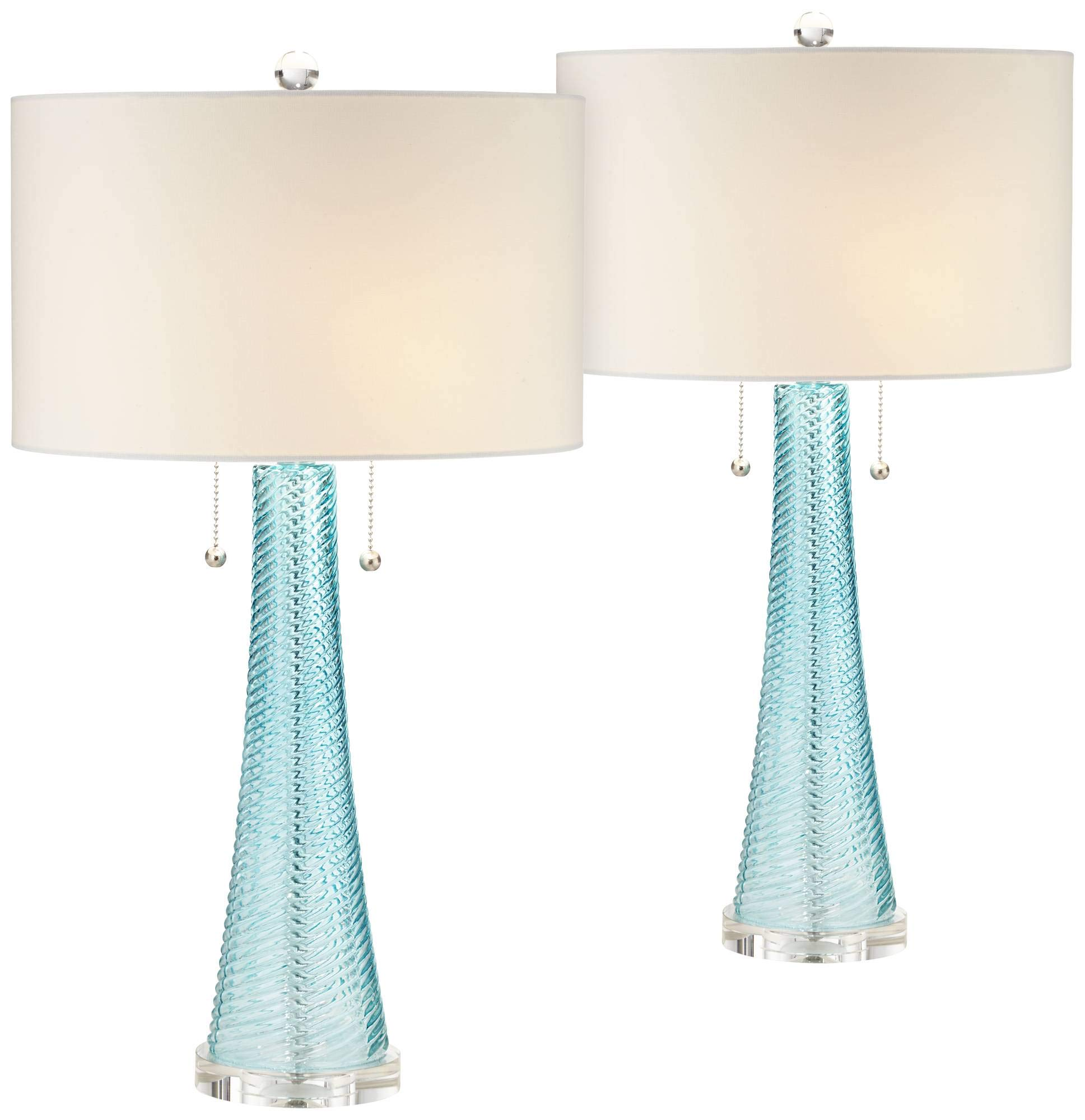 Miriam Modern Table Lamps Set of 2 Light Sky Blue Fluted Glass with Swirl Pattern White Drum Shade for Living Room Bedroom Bedside Nightstand Office Family - Possini Euro Design