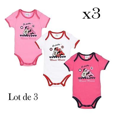 Disney Minnie lot de 3 body bébé Fille - 12 mois  Amazon.fr ... 3f9d56dd09e