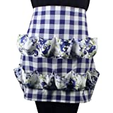 Hense Apron with 12 Pockets, Perfect for Farmer House-hold Clever Housewife Must Have Apron(HSW-024 blue/white checks with blue floral)