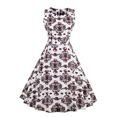 Womens Vintage Retro Dress Foral Print Rockabilly Christmas Dress Hepburn Casual Party Swing Dress Vestidos,