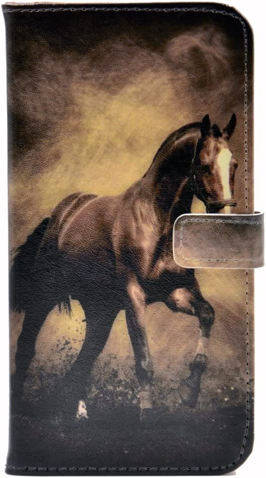 YHB iPhone 6S Case Horse Racing Pattern Leather Wallet Card Flip Stand Case Cover for Apple iPhone 6 6S