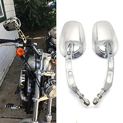 8mm Chrome Motorcycle Rearview Side Mirrors For Harley Davidson Street Glide Cruiser (Chrome): Automotive