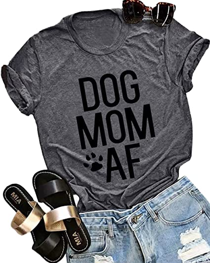 5226faf4 Dog Mom AF T Shirt Tops Womens Cute Funny Letter Print Dog Lover Graphic Tee  Casual