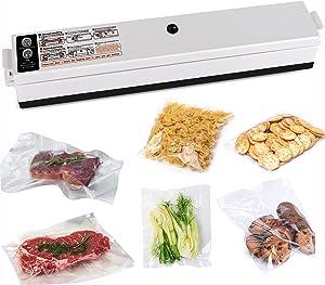 Vacuum Sealer Machine, Food Saver Impulse Heat Sealing Automatic Bag Sealer, Plastic Bag Sealing Machine with Led Indicator Lights, Sealer Bags for Home Organization (10 Vacuum Bags)