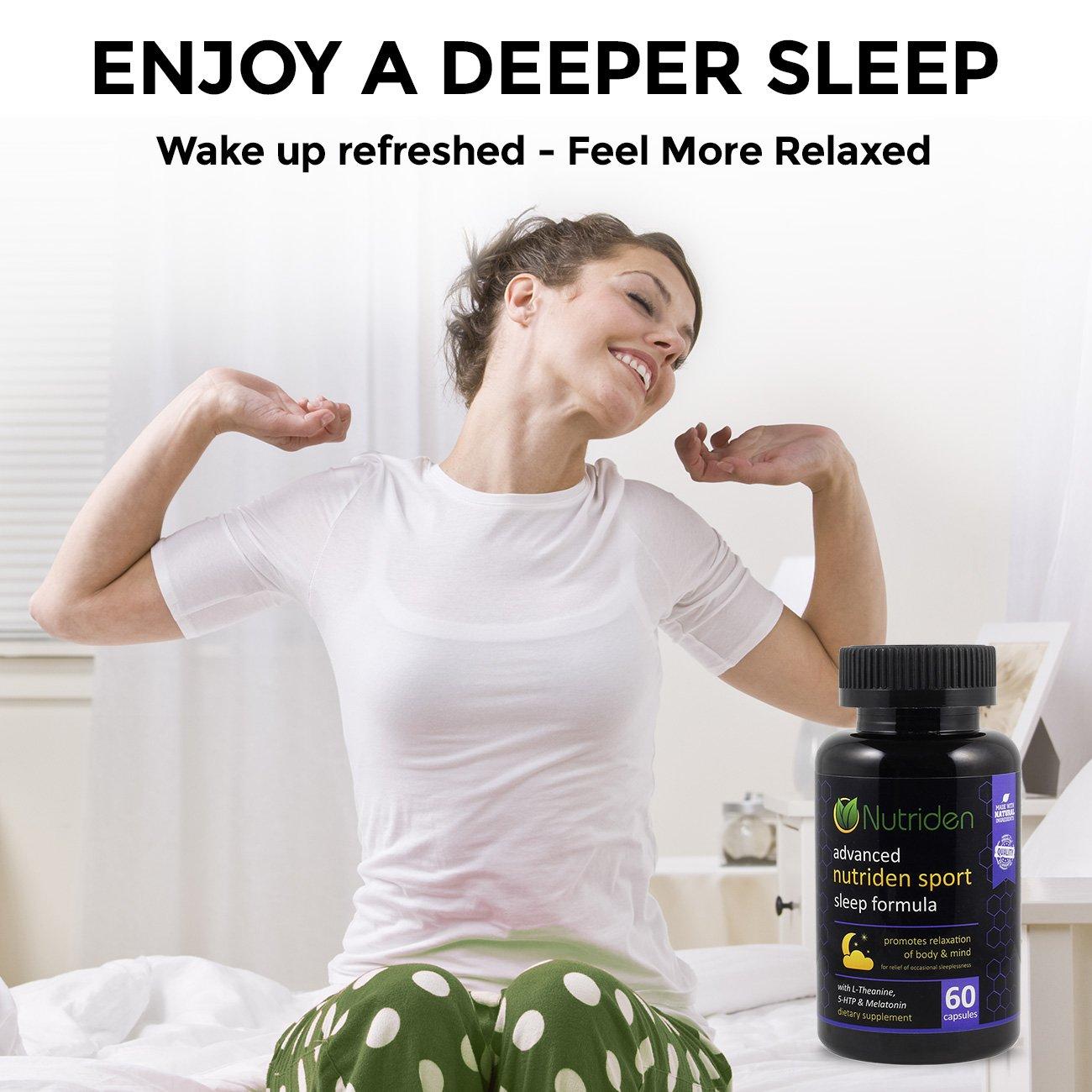 Nutriden Sport Advanced Sleep Aid - All Natural Sedative Effects from Melatonin, Magnesium, L-Theanine, 5-HTP & GABA - 100% Risk Free Guarantee (60 Capsules)