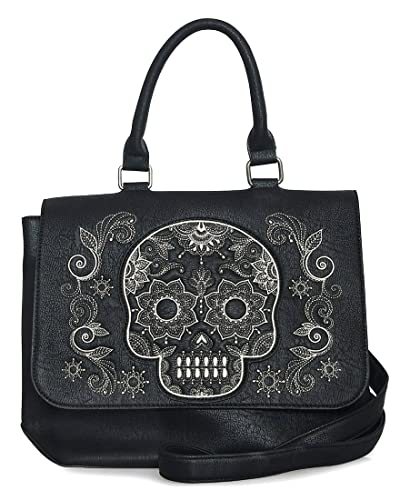 1973922675d4 Amazon.com  Loungefly Faux Leather Embroidered Sugar Skull Messenger Bag   Shoes
