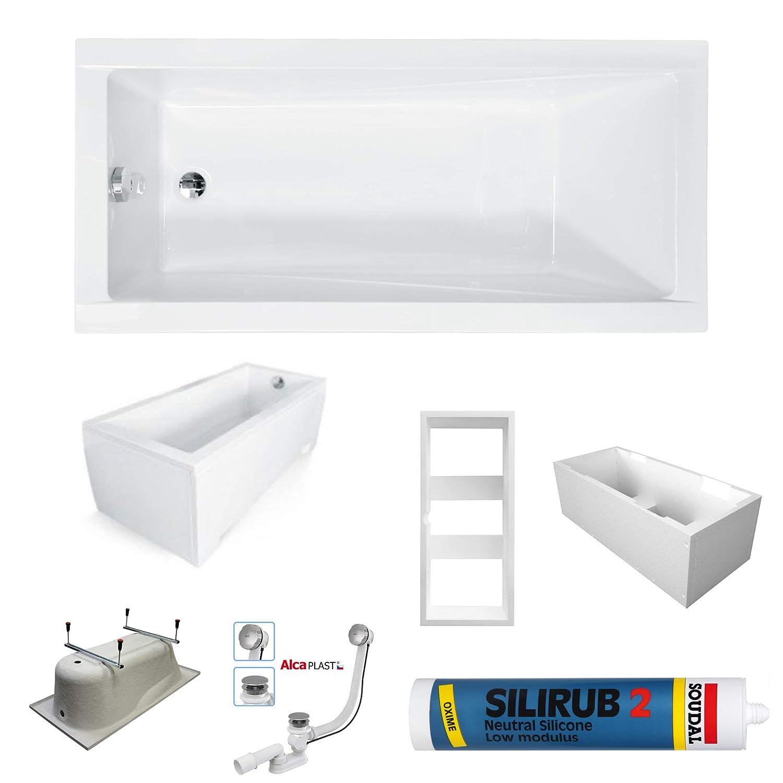 PREMIUM Rechteck Badewanne Wanne CETI 150 x 70 cm mit Schürze oder LED Wannenträger Ablaufgarnitur Silikon Füßen   Acryl 5 mm   Komplettset - Schürze